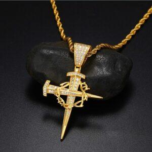 Christian Jesus Christ Nail Cross Crucifix Pendant With 24