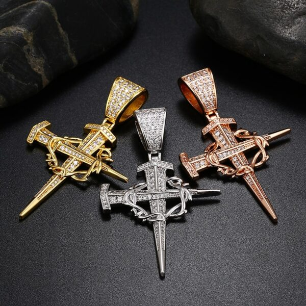 """Christian Jesus Christ Nail Cross Crucifix Pendant With 24"""",30"""" Rope Chain"""