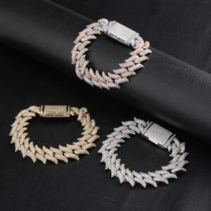 16/18mm Iced Out AAA+ CZ Stones Heavy Thorns Miami Cuban Link Bracelet