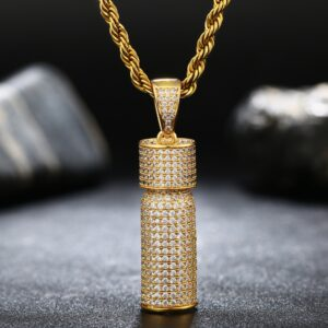 "Iced Out AAA+ CZ Stone Micro-Pave Bottle Pendant Gold/Silver With 24"" Rope Chain"