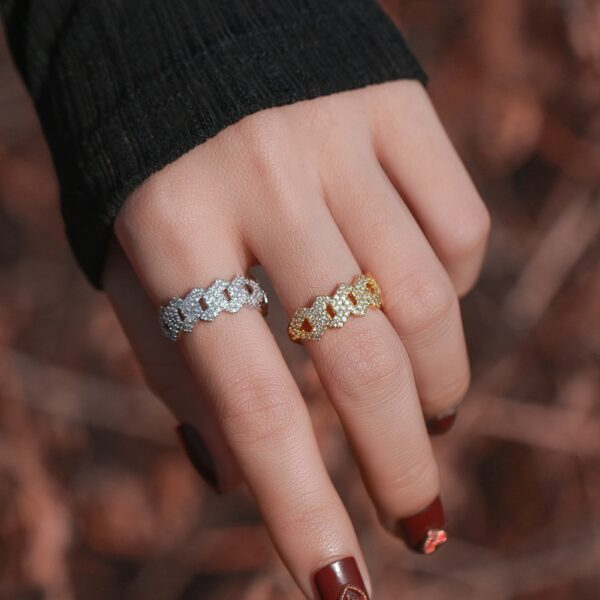 Unisex Prong Setting AAA+ CZ Stone Miami Cuban Link Iced Out Fashion Pinky Ring