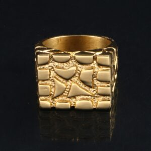 Men's Nugget Square 14k Gold Filled Pinky Ring Sizes 7-10