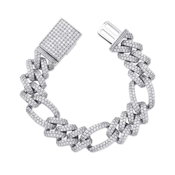 Unisex Square Clasp Iced Out AAA+ CZ Stones Cuban Link Bracelet 18mm 7.5 To 9.5