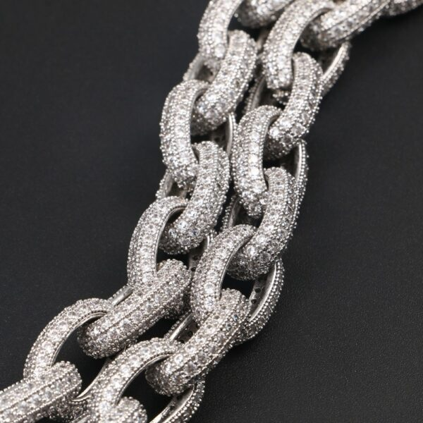 10mm Thick Punk Iced Out AAA+ CZ Stone Silver Plated Link Chain And Bracelet