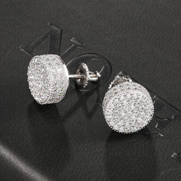 Unisex 1Pair Micro-Paved AAA+ Round Zircon CZ Stone Stud Earrings