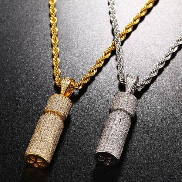 """Iced Out AAA+ CZ Stone Micro-Pave Bottle Pendant Gold/Silver With 24"""" Rope Chain"""