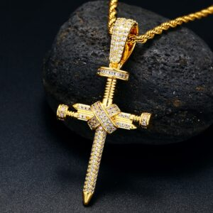 """Jesus Crucifix Gold, Silver, Rose Gold Color Pendant With 20""""24""""30"""" Rope Chain"""