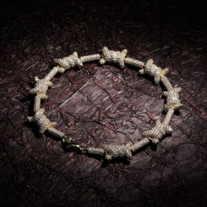 10mm AAA+ CZ Stones X-Knot Gold/Silver 7