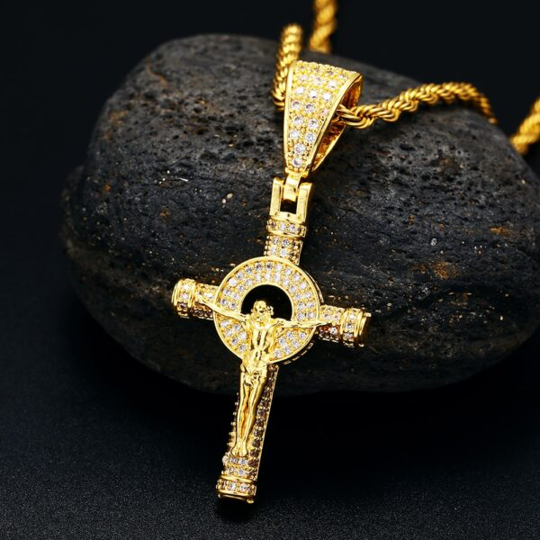 "Religious Crucifix Jesus Piece Iced AAA+ CZ Stones w/24"" Rope Chain Necklace"