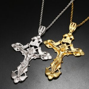 Jesus Piece Crucifix Charm INRI Cross Pendant With Italian Twisted Rope Chain Necklace