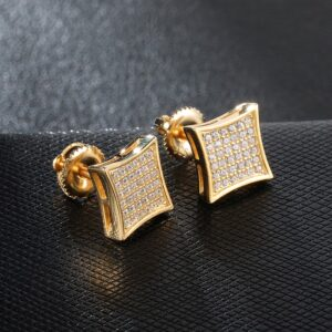 Unisex AAA+ CZ Square Bling Iced Out Stud Earrings Gold/Silver Colors