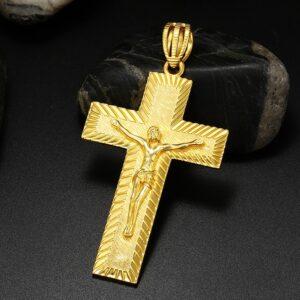 ICEOUTBOX Big Religious Crucifix Jesus Cross Pendant Necklace Men's Hip hop Cross Necklace Rock Jewelry Charm Gold Color Gifts