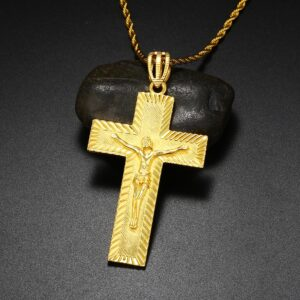 Big Religious Jesus Crucifix Cross Pendant With Rope Chain Necklace 20