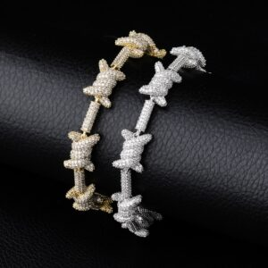 "10mm AAA+ CZ Stones X-Knot Gold/Silver 7""-8"" Unisex Bracelet"