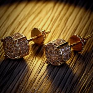 Unisex Lab AAA+ Round Screw-back Stud Earrings