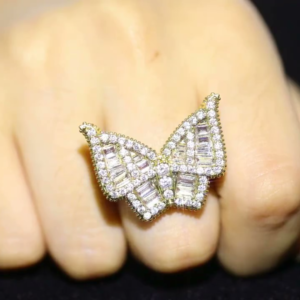 Women's Stylish Big Butterfly Ring AAA+Cz Simulated Stones 7-11 Us Sizes Gold/Silver Color