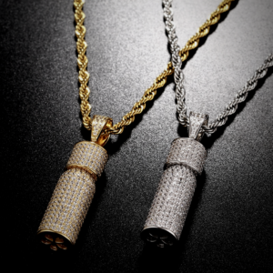 Iced Out Pill Bottle Charm Pill Capsule Pendant Gold/Silver Color With 24