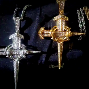 Christian Jewelry Jesus Christ Nail Cross Crucifix Charm Pendant With Twisted Rope Chain Necklace