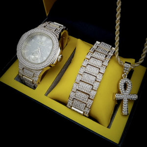Iced Out Watch Ankh Cross Pendant Twisted Rope Chain Icy Bracelet Jewelry Set