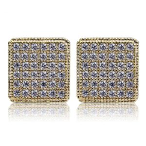 Square Unisex AAA+Cz Gold/Silver Stud Earring Screw Back Fashion Jewelry Earrings