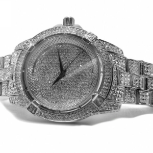 Men's White Gold Plated Iced Out Bling Watch