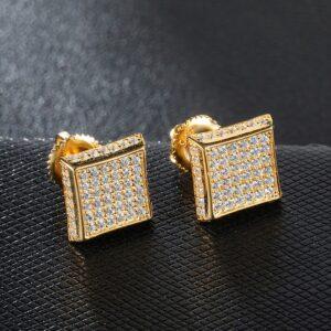 Unisex Iced AAA+ CZ Square Micro Paved Stud Earrings