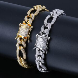 Figaro Curb 10mm Iced AAA+ CZ Stones Bracelet