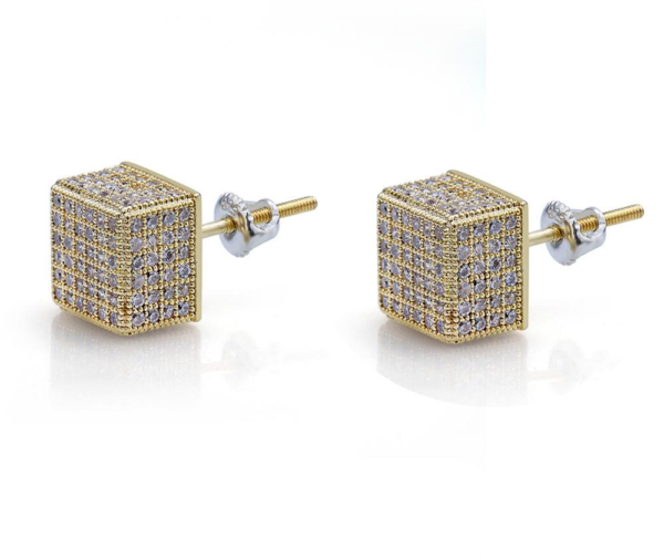 Square Unisex AAA+ CZ Iced Out Gold/Silver Stud Fashion Jewelry Earrings
