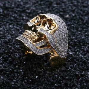 Hip Hop Iced Out Micro Pave AAA CZ Stones Skeleton Head Ring