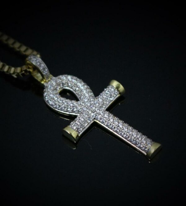 """Egyptian Ankh Iced AAA+ CZ Stones Pendant w/2mmX24"""" Box Link Chain Necklace"""