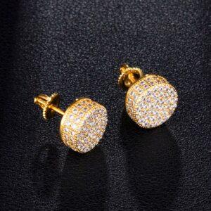 Unisex Micro-Paved AAA+Cz Stones Round Stud Earrings