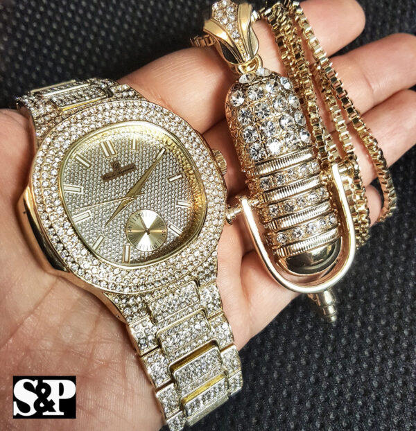 "Men's Iced Wristwatch With Icy Rapper Mic Pendant & 30"" Box Link Chain"
