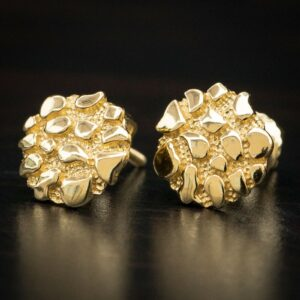 14K Gold Vermeil Round Shaped Nugget Stud Screw Back Earrings
