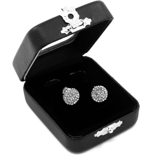 Men's Silver Iced Paved Round Screw Back Stud Earrings