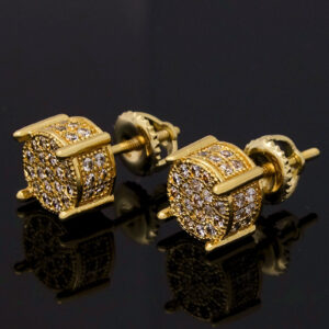 Men's 14k Gold Plated Lab Diamond Earring Stud Round