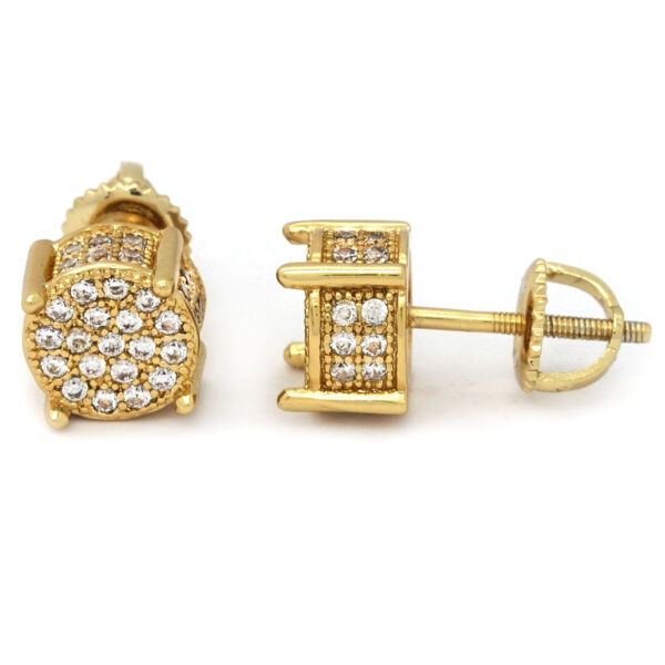 Men's 14k Gold Plated Lab Diamond Earring Stud Round