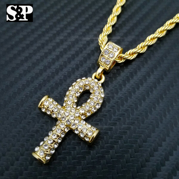 Ankh Cross Pendant With Rope Chain, Iced Out Watch & Icy Bracelet Combo Set