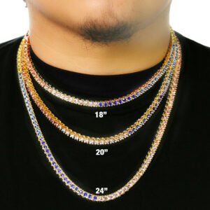 AAA+ CZ Lab Diamond 1 Row Multi Color Tennis Chain Necklace