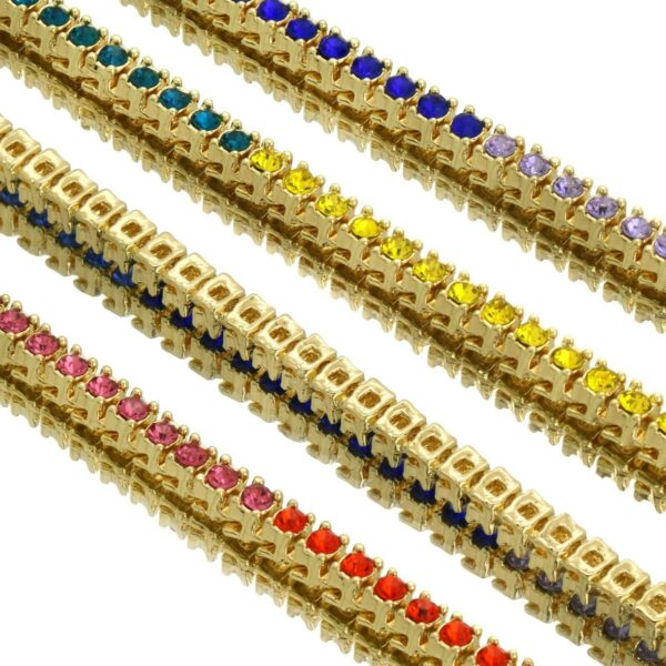 AAA+ CZ Lab Diamond 1 Row Multi Color Tennis Chain Necklace