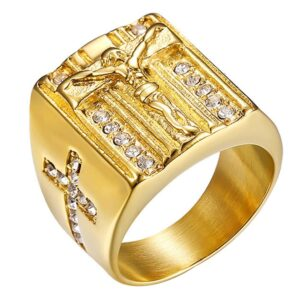 Men's Christian Jesus Cross Pinky Ring Gold Color Religious Jewelry Sizes 8-12