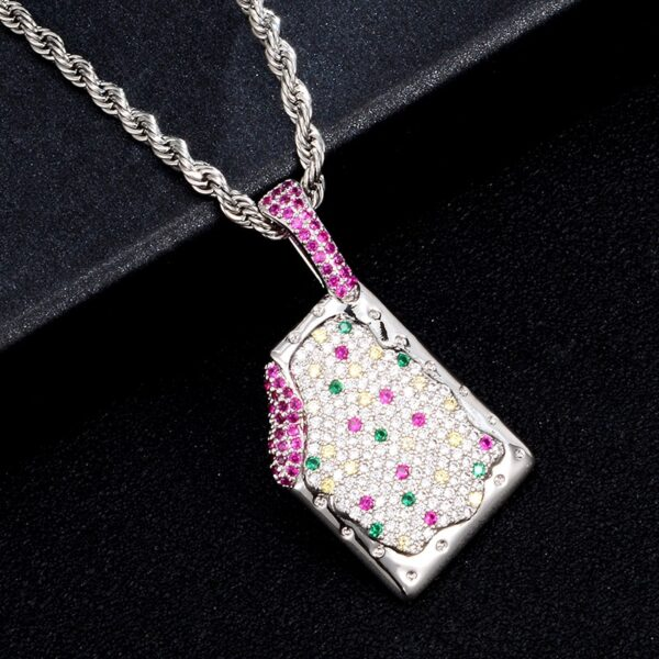 Bling AAA+ CZ Stones Iced POP-Tart Charm Pendant With Silver/Gold Rope Chain