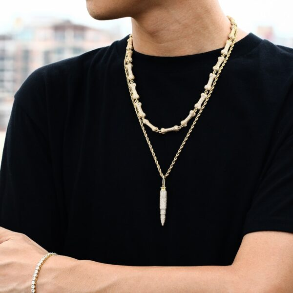 Iced AAA+ CZ AK Bullet Pendant With Cuban Link, Rope Chain, Or Tennis Necklace