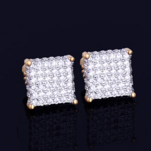 8MM Small Unisex Stud Earring Square AAA+ CZ Rocks Screw Back Fashion Earrings