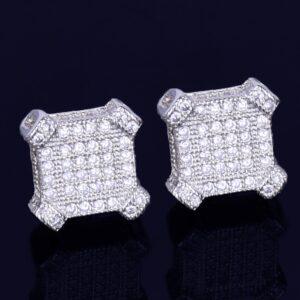 10MM Square Unisex Gold/Silver Color Screw Back AAA+ CZ Rocks Stud Earrings