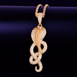 Cobra Snake Charm Pendant AAA+ CZ Rock Gold/Silver Rope/Tennis Chain Necklace