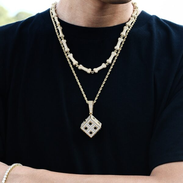Iced AAA+ CZ Square Dice Pendant Silver/Gold/Rose Cuban Link, Rope, Tennis Chain
