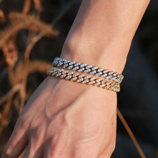 Stylish AAA+ CZ Stones 8mm Miami Cuban Link Bracelet Silver, Blue, Gold Colors