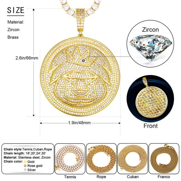 Iced AAA+ CZ Rocks Round Lion Crown Bling Pendant With Necklace Jewelry Set