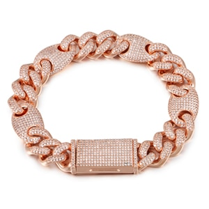 13mm Miami Cuban Link Bracelet AAA+ CZ Stone Rose Gold. Silver, Gold Color