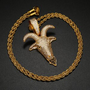 Baphomet Sheep Head Pendant AAA+ CZ Silver/Gold With Chain Necklace Jewelry